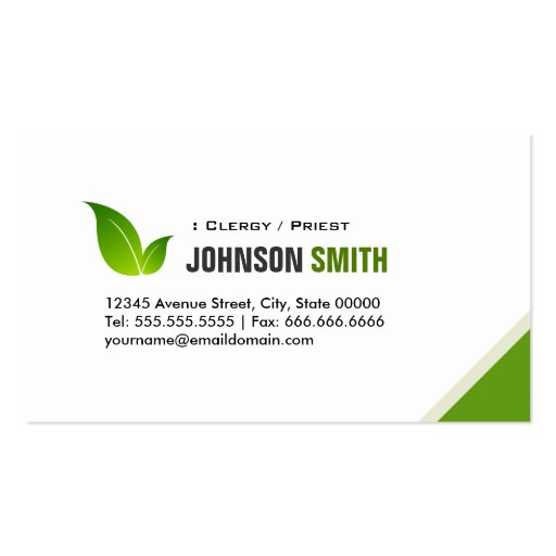Clergy / Priest - Elegant Modern Green Business Card Template
