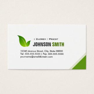 Clergy / Priest - Elegant Modern Green Business Card