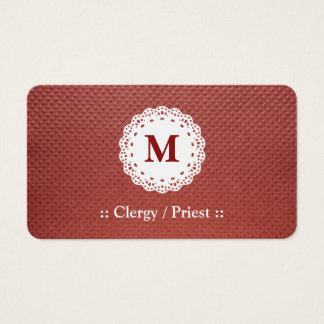 Clergy / Priest Lace Monogram Maroon Business Card