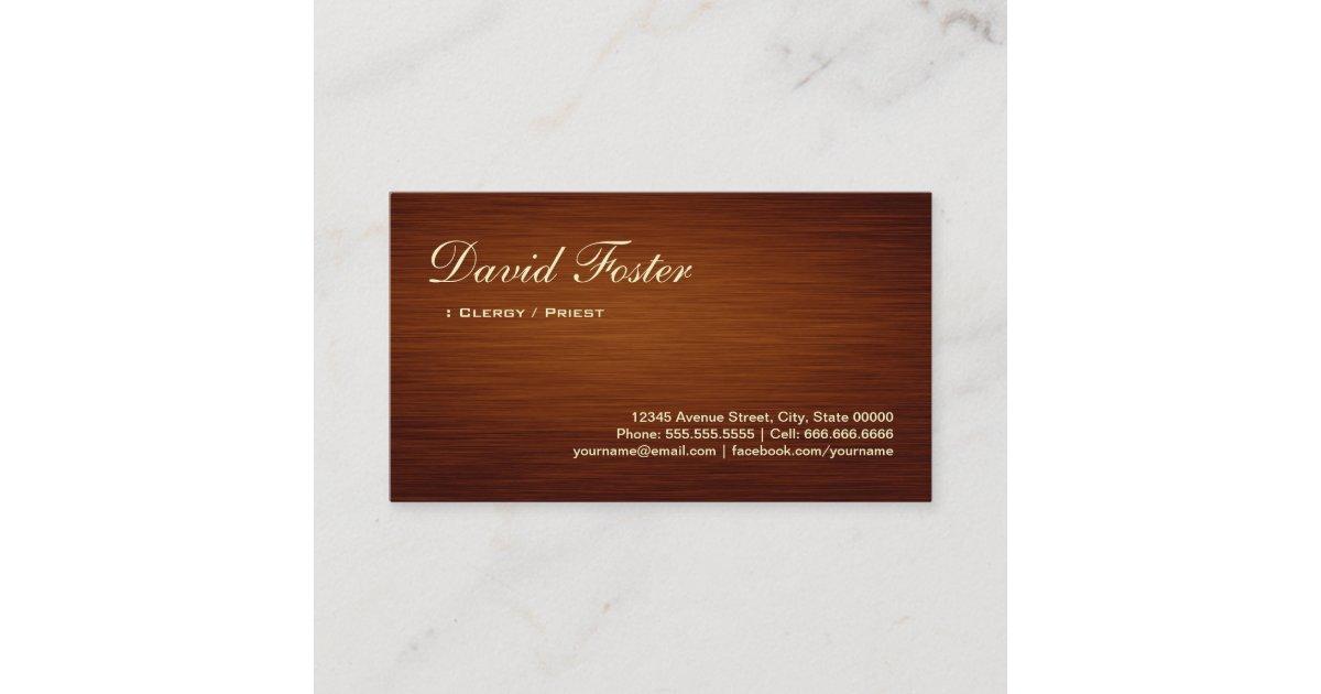 Clergy / Priest - Wood Grain Look Business Card | Zazzle.com