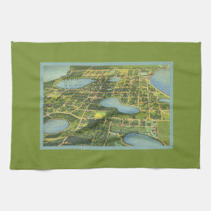 Clermont Florida Map.Florida Map Kitchen Hand Towels Zazzle