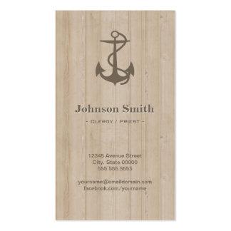 Clero/sacerdote - madera náutica del ancla tarjetas de visita