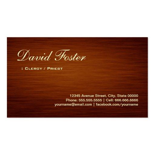 Clero/sacerdote - mirada de madera del grano tarjeta de visita