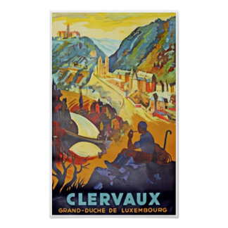 Clervaux, Luxembourg, Vintage Travel Poster