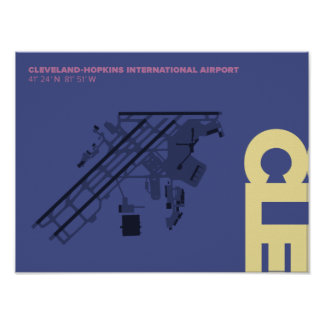 Cleveland Airport (CLE) Diagram Poster