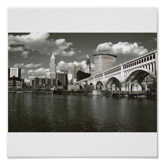 Cleveland Black and White Poster