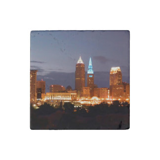 Cleveland Blue Skyline Stone Magnet