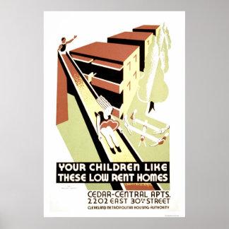 Cleveland casera de alquiler moderado WPA 1940 Póster