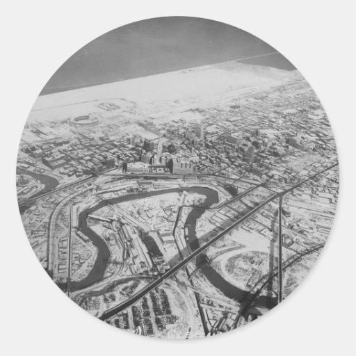 Cleveland céntrica en 1937 pegatina redonda