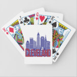 "Cleveland City Colors Bicycle Playing Cards<br><div class=""desc"">An artistic render of Cleveland&#39;s skyline in the city&#39;s colors of red,  white (light gray),  and blue.</div>"