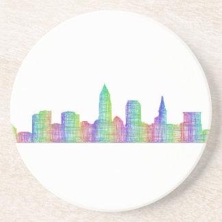 Cleveland city skyline sandstone coaster