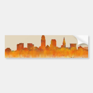 Cleveland City watercolor U.S. skyline Bumper Sticker