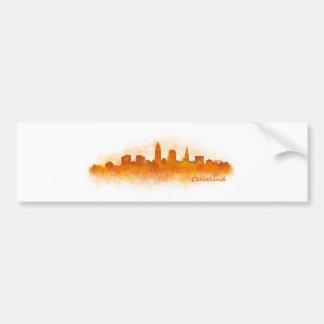 Cleveland City watercolor U.S. skyline v3 Bumper Sticker