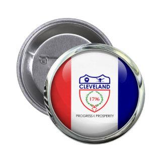 Cleveland Flag Glass Ball Button