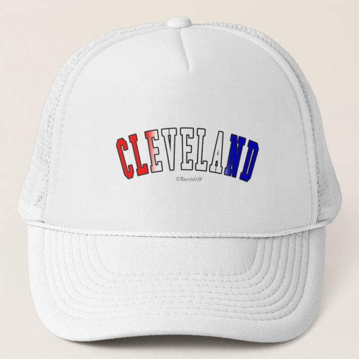 Cleveland in Ohio State Flag Colors Mesh Hat