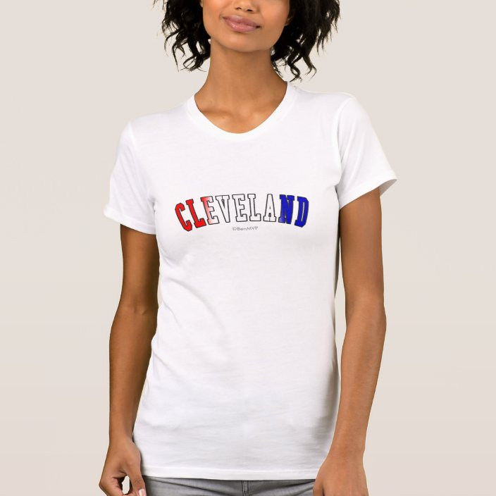 Cleveland in Ohio State Flag Colors Tee Shirt