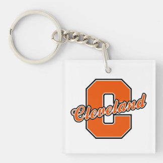 Cleveland Letter Single-Sided Square Acrylic Keychain