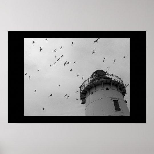 Cleveland lighthouse and gulls bw print