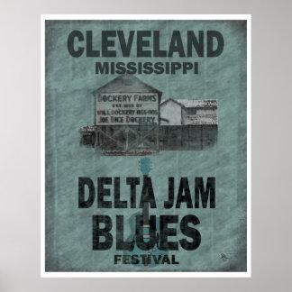 Cleveland Mississippi Delta Jam Blues Guitar Poster