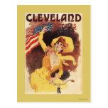 Cleveland monta en bicicleta al chica americano en tarjetas postales