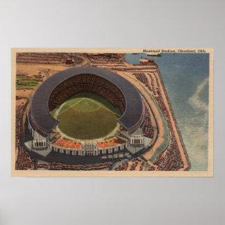 Cleveland, OH - Aerial of Municipal Baseball Print