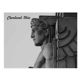 Cleveland OH Bridge Guardian (B & W) Postcard