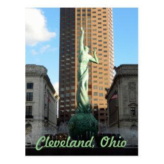 Cleveland, OH Fountain(Green) in Sunshine Postcard