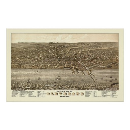Cleveland, OH Panoramic Map - 1877 Print
