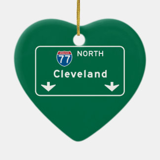 Cleveland, OH Road Sign Ceramic Ornament