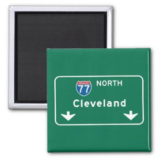 Cleveland, OH Road Sign 2 Inch Square Magnet