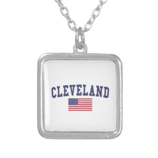 Cleveland OH US Flag Silver Plated Necklace