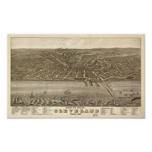 Cleveland Ohio 1877 Antique Panoramic Map Poster