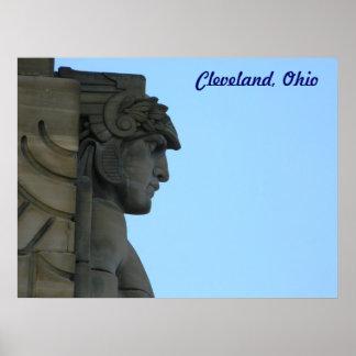Cleveland, Ohio Art Deco Bridge Statue Poster