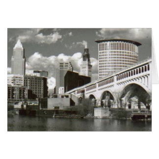 Cleveland Ohio Black and White Greeting Card