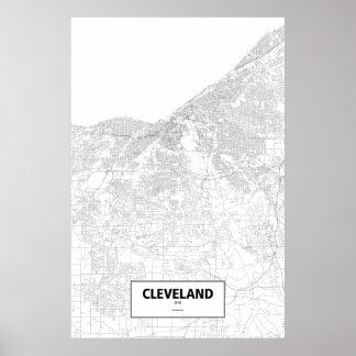 Cleveland, Ohio (black on white) Poster