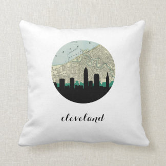 Cleveland, Ohio   Cleveland vintage map Throw Pillow
