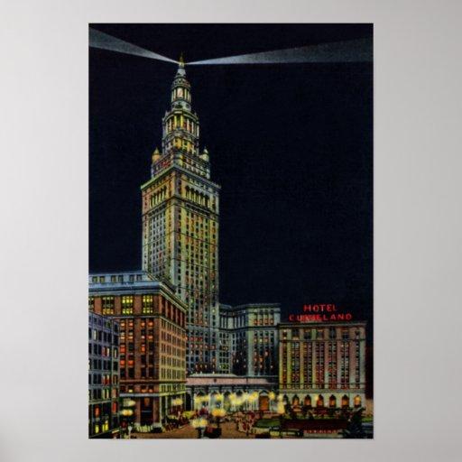 Cleveland Ohio en la noche Póster