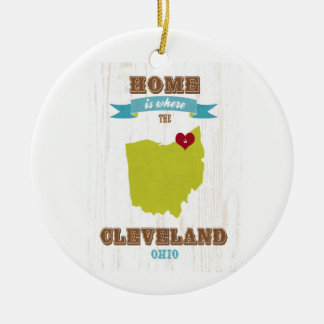 Cleveland, Ohio  Map – Home Is Where The Heart Is Double-Sided Ceramic Round Christmas Ornament