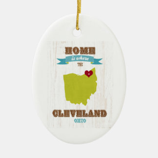 Cleveland, Ohio  Map – Home Is Where The Heart Is Double-Sided Oval Ceramic Christmas Ornament