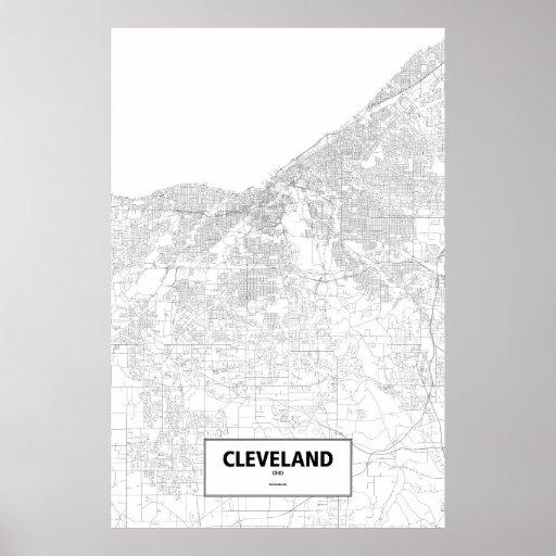 Cleveland, Ohio (negro en blanco) Póster