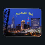 """Cleveland,Ohio Night on the Town Magnet (Curve)<br><div class=""""desc"""">Iconic view of Cleveland,  Ohio! Magnet with classic curved text,  shows off hometown scene in the best light!</div>"""