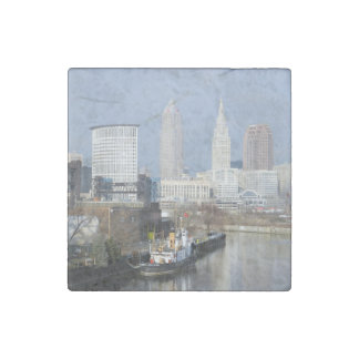 Cleveland, Ohio (opinión w/Tugboat del río) Imán De Piedra