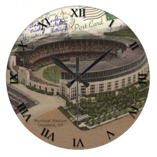Cleveland Ohio Post Card Clock - Municipal Stadium
