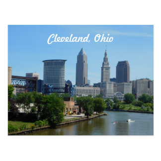Cleveland, Ohio River Skyline Postcard