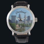 "Cleveland, Ohio River Skyline Watch<br><div class=""desc"">Classic view of Cleveland,  Ohio from the river- includes the 4 main towers of the Cleveland skyline,  and beautiful view of the river that made Cleveland what it is today! Available in many styles,  men women and children&#39;s watches. Any time is Cleveland time!</div>"