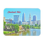 Cleveland Ohio River View (Paint Effect) Magnet