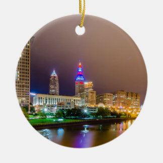 cleveland ohio sity skyline of downtown ceramic ornament