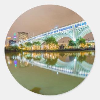 cleveland ohio sity skyline of downtown classic round sticker