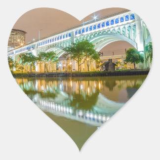 cleveland ohio sity skyline of downtown heart sticker