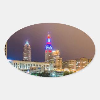 cleveland ohio sity skyline of downtown oval sticker